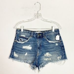 Zara hi rise distressed denim shorts size 26